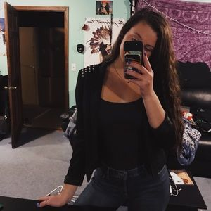 H&M studded shoulder black blazer